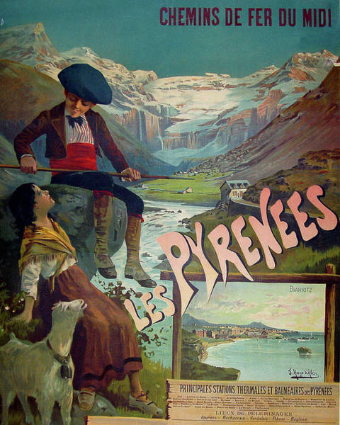 Pyrenees Painting - Pyrenees, France, Vintage Travel Poster by Long Shot