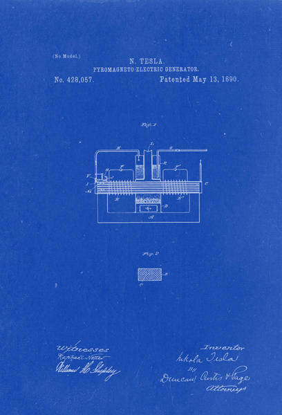 Artful Drawing - Pyromagneto-electric Generator Patent Drawing From 1890 - Blueprint by Patently Artful