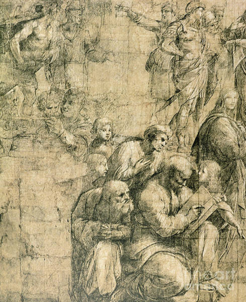 Close Up Drawing - Pythagoras, Detail From The Cartoon For The School Of Athens by Raphael
