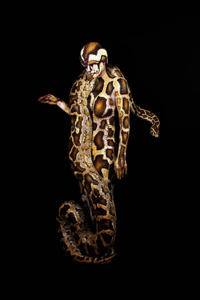 Bodypaint Wall Art - Painting - Python by Johannes Stoetter