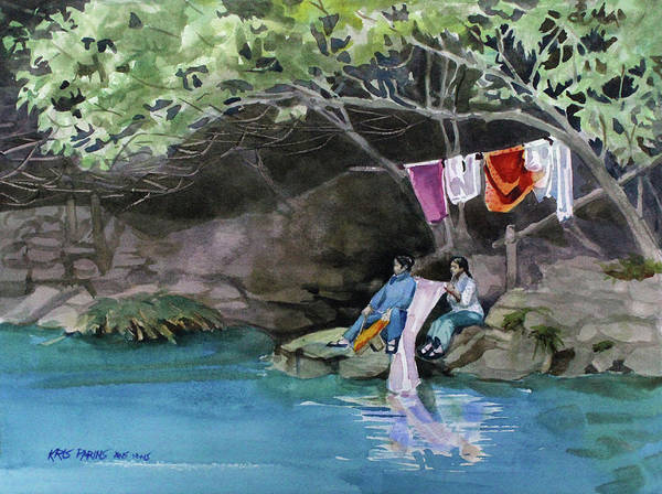 Clothesline Painting - Laundry Day by Kris Parins