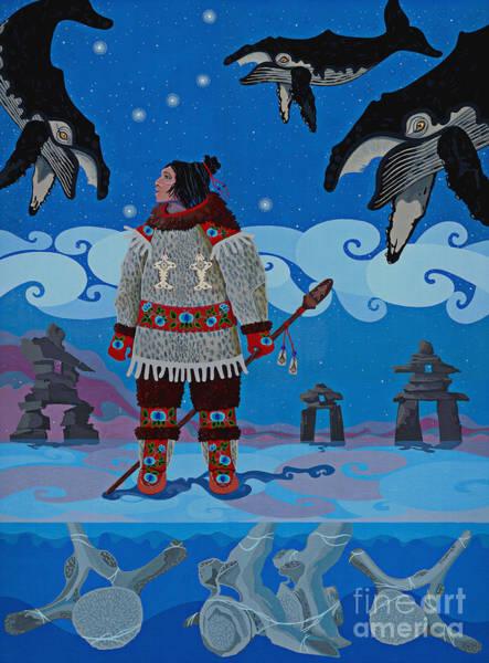 Bone Painting - Qikiqtaaluk Whale Dreamer by Chholing Taha