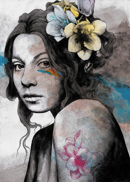 Young Drawing - Qohelet - Young Lady With Freesias Tattoos by Marco Paludet