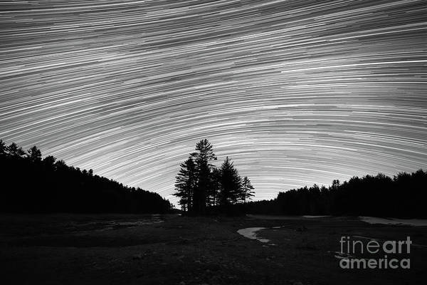 Photograph - Quabbin Reservoir Star Trails Bw by Michael Ver Sprill