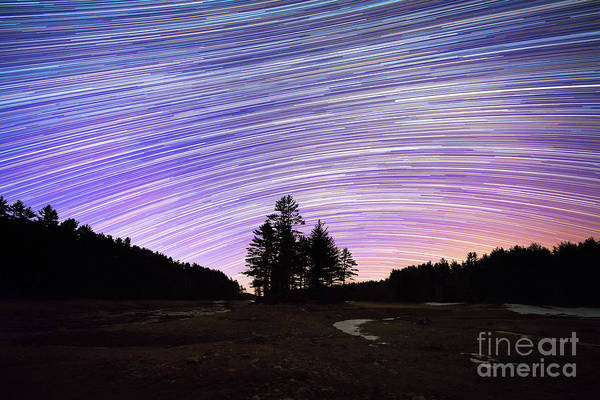 Photograph - Quabbin Reservoir Star Trails by Michael Ver Sprill