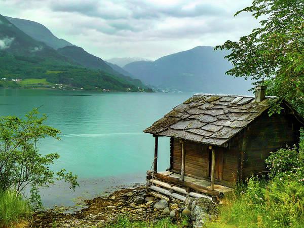 Wall Art - Photograph - Norwegian Fjord Mountain Log Cabin by Norma Brandsberg