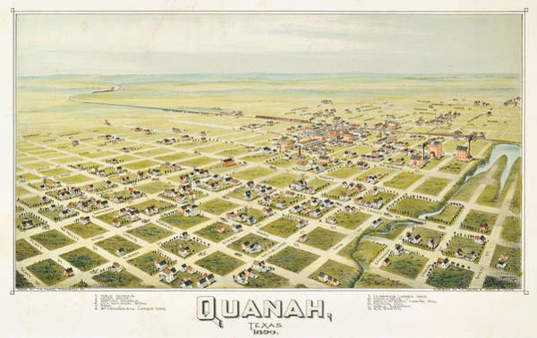 Wall Art - Painting - Antique Map Of Quanah, Texas. 1890 by Thaddeus Mortimer Fowler