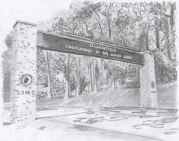 Drawing - Quantico Welcome Graphite by Betsy Hackett