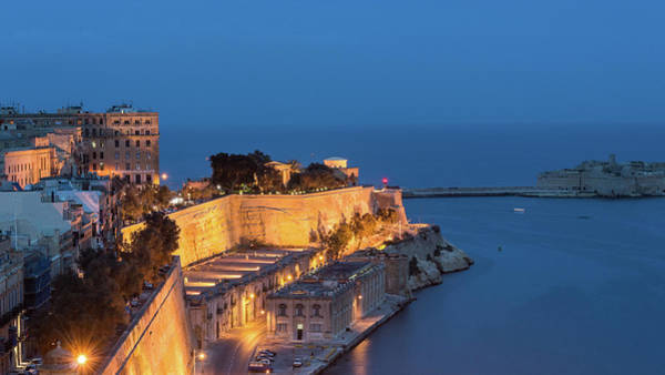 Photograph - Quarry Wharf By Night, Valletta Malta by Jacek Wojnarowski