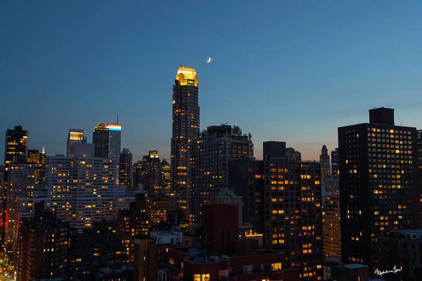 Wall Art - Photograph - Quarter Moon Over Manhattan by Madeline Ellis