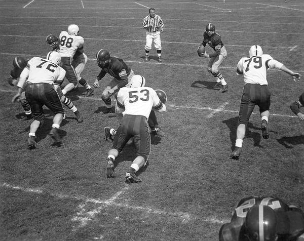 Photograph - Quarterback Ready To Pass by Underwood Archives