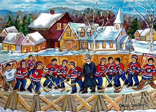 Painting - Quebec Village Country Scene Hockey Rink Painting Montreal Canadiens Rink Hockey Game C Spandau Art  by Carole Spandau