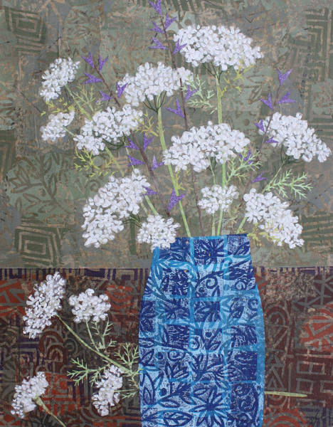 Sparrow Mixed Media - Queen Anne's Lace In Blue Vase by Janyce Boynton