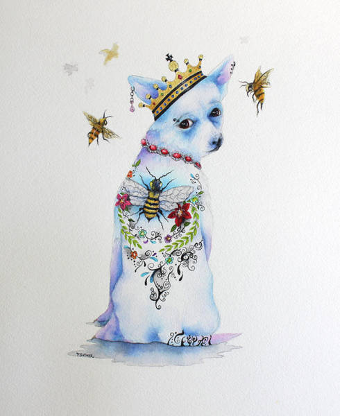Wall Art - Mixed Media - Queen Bee Chihuahua by Patricia Lintner