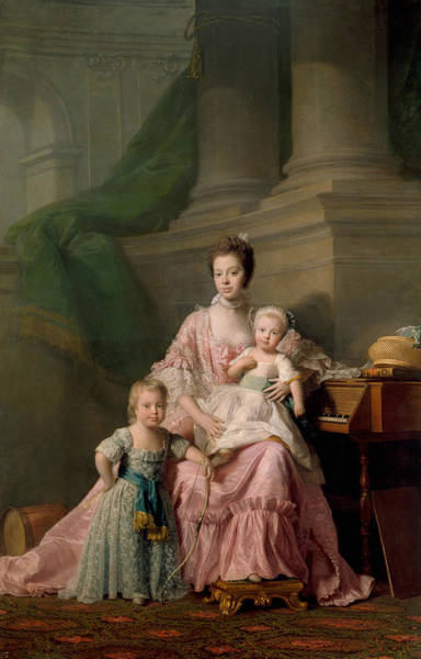 Painting - Queen Charlotte With Her Two Eldest Sons by Allan Ramsay