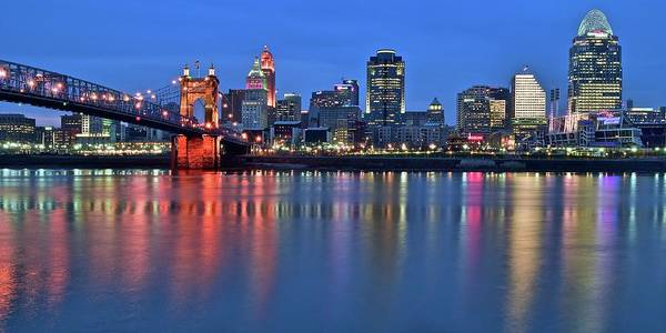 Wall Art - Photograph - Queen City Blue Hour Pano by Frozen in Time Fine Art Photography