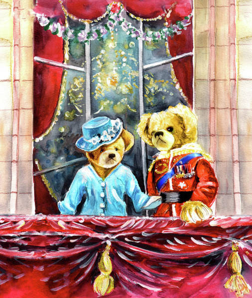 Wall Art - Painting - Queen Elizabeth And Prince Philip At Newby Hall by Miki De Goodaboom