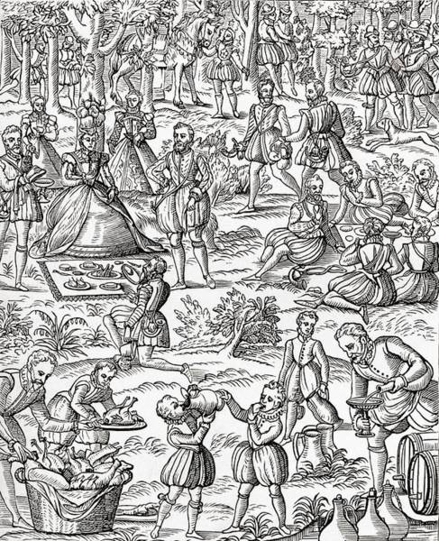 Royal Court Drawing - Queen Elizabeth I At A Royal Picnic by Vintage Design Pics
