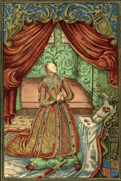 Wall Art - Drawing - Queen Elizabeth I At Prayer, After The by Vintage Design Pics