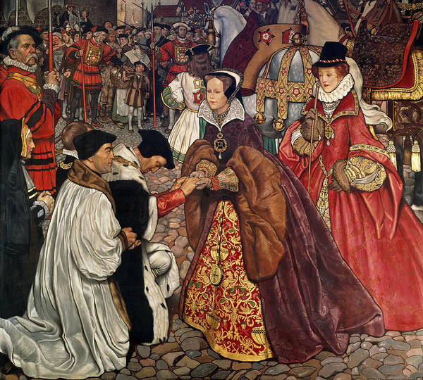 Westminster Painting - Queen Mary And Princess Elizabeth Entering London by John Byam Liston Shaw