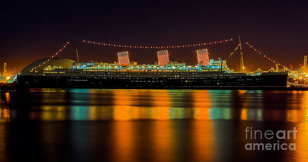 Wall Art - Photograph - Queen Mary - Nightside by Jim Carrell