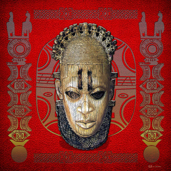 African Tribal Digital Art - Queen Mother Idia - Ivory Hip Pendant Mask - Nigeria - Edo Peoples - Court Of Benin On Red Leather by Serge Averbukh