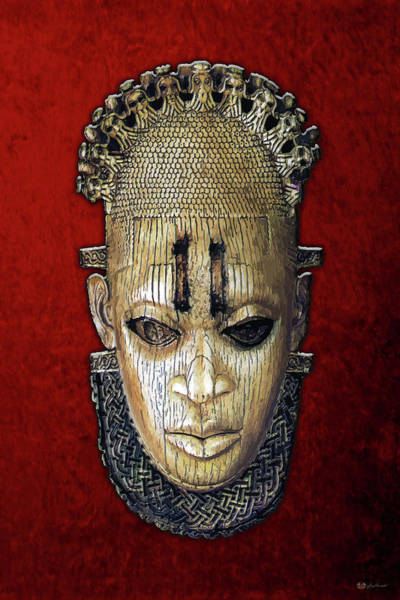 African Tribal Digital Art - Queen Mother Idia - Ivory Hip Pendant Mask - Nigeria - Edo Peoples - Court Of Benin On Red Velvet by Serge Averbukh