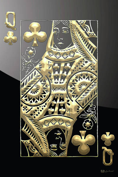 Digital Art - Queen Of Clubs In Gold On Black   by Serge Averbukh
