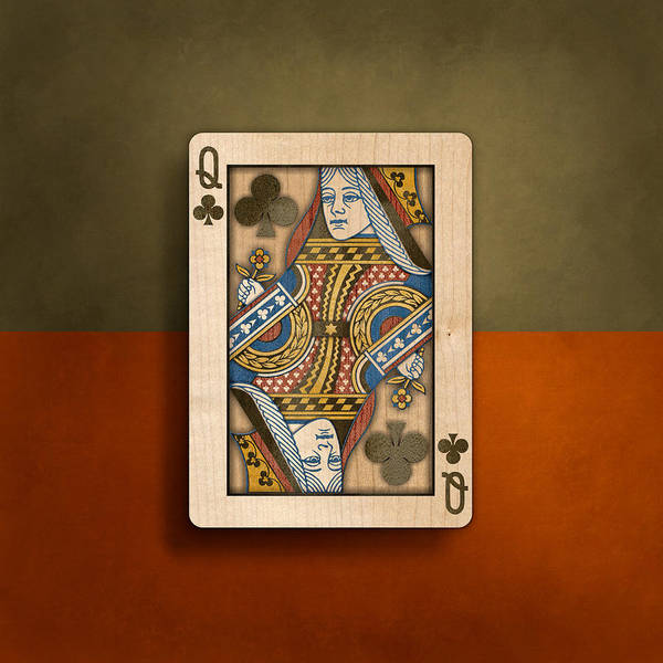 Wall Art - Photograph - Queen Of Clubs In Wood by YoPedro