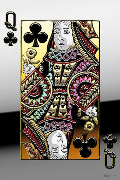 Digital Art - Queen Of Clubs   by Serge Averbukh