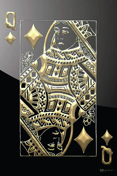 Digital Art - Queen Of Diamonds In Gold On Black  by Serge Averbukh