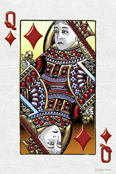 Digital Art - Queen Of Diamonds Over White Leather  by Serge Averbukh