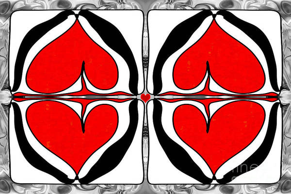 Digital Art - Queen Of Hearts Abstract Bliss Art By Omashte by Omaste Witkowski
