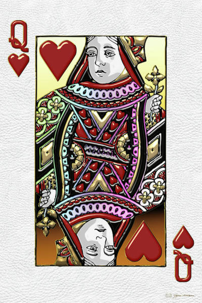 Digital Art - Queen Of Hearts Over White Leather  by Serge Averbukh