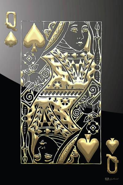 Digital Art - Queen Of Spades In Gold On Black   by Serge Averbukh