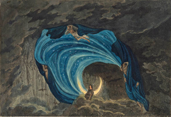 Grey Skies Drawing - Queen Of The Night Scene For Mozart's Magic Flute  by Simon Quaglio