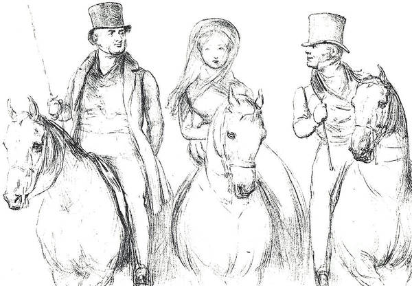 Victoria Drawing - Queen Victoria, Lord Melbourne And Lord Russell  by English School