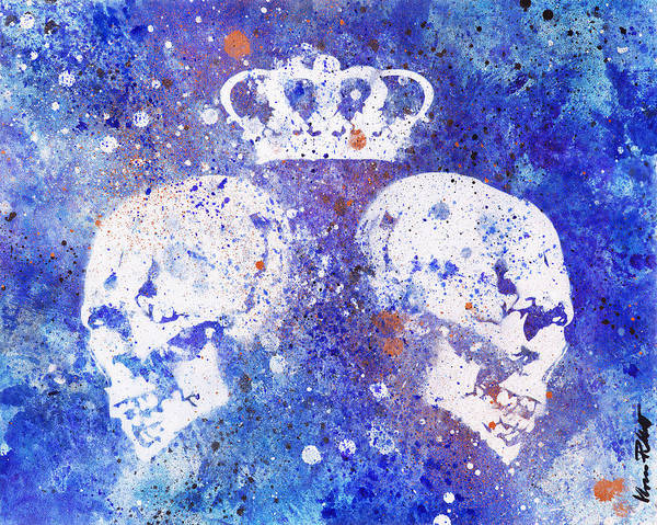 Spray Paint Painting - Queendom - Spray Paint Graffiti Art, Crown With Skulls by Marco Paludet