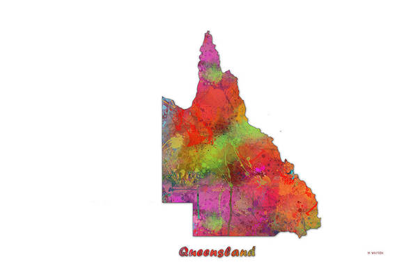 Queensland Digital Art - Queensland  Australia State Map by Marlene Watson