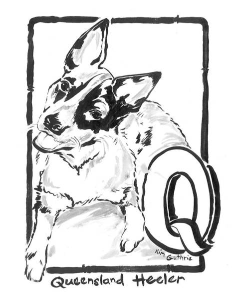 Wall Art - Painting - Queensland Heeler Dog Drawing And The Letter Q by Kim Guthrie