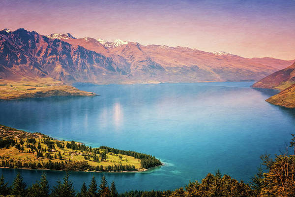 Photograph - Queenstown New Zealand From Above Painterly by Joan Carroll