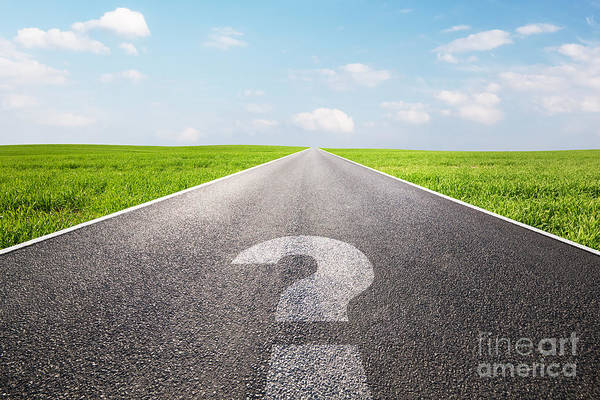 Straight Ahead Wall Art - Photograph - Question Mark Symbol On Long Empty Straight Road by Michal Bednarek