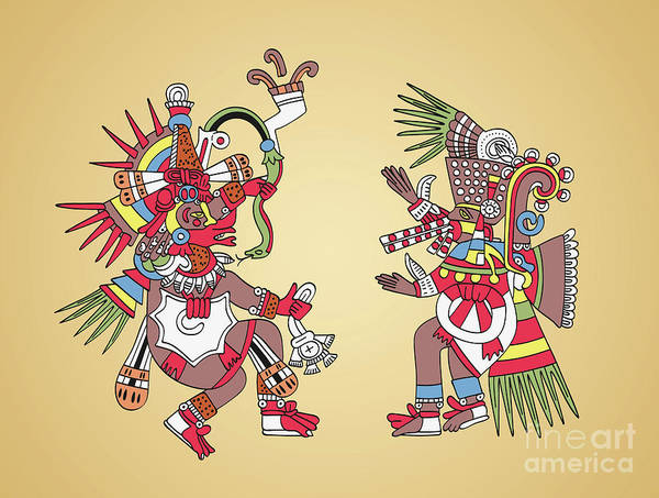 Feathered Serpent Digital Art - Quetzalcoatl And Tezcatlipoca, Aztec Gods And Twin Brothers by Peter Hermes Furian