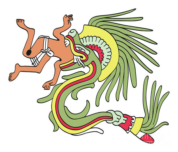 Feathered Serpent Digital Art - Quetzalcoatl In Feathered Serpent Form, Eating A Man by Peter Hermes Furian