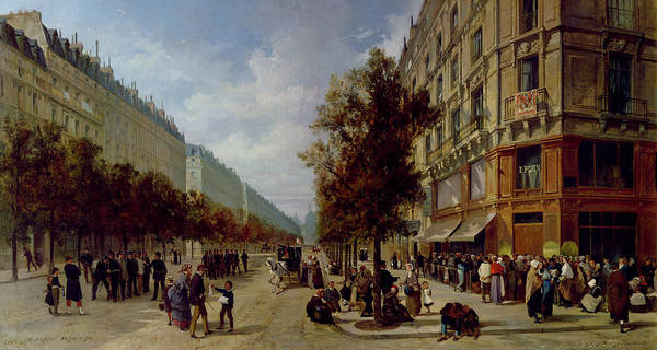Avenue Painting - Queueing At The Door Of A Grocery by Jacques Guiad