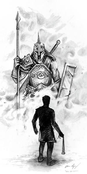 Drawing - Quick Sketch - David And Goliath by Aaron Spong