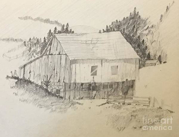 Drawing - Quiet Barn by Thomas Janos