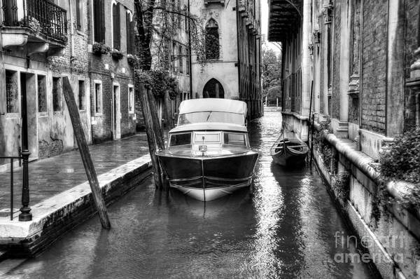 Photograph - Quiet Canal In Venice Bw by Mel Steinhauer
