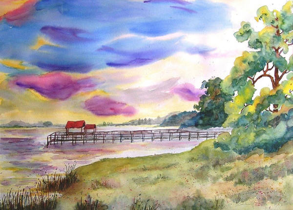 River Scene Mixed Media - Quiet Cove by Barbara Jung