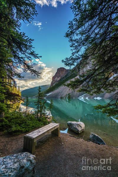 Moraine Lake Photograph - Quiet Lake Moraine Solitude by Mike Reid